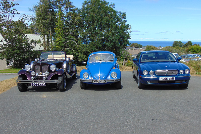 Old New and Blue wedding cars